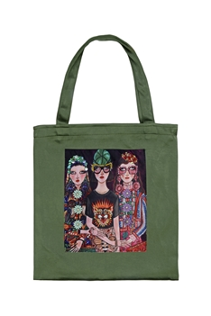 Printed Patch Tote Bags HB0710-NO.3 - Green