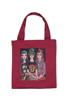 Printed Patch Tote Bags HB0710-NO.3 - Red