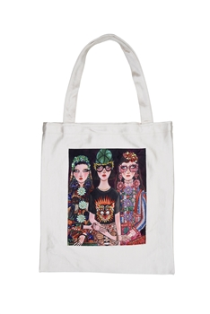 Printed Patch Tote Bags HB0710-NO.3 - White
