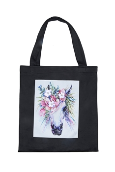 Printed Patch Tote Bags HB0710-NO.49 - Black