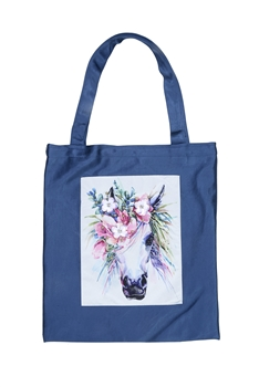 Printed Patch Tote Bags HB0710-NO.49 - Blue