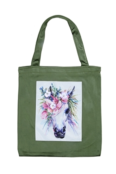 Printed Patch Tote Bags HB0710-NO.49 - Green