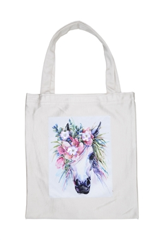 Printed Patch Tote Bags HB0710-NO.49 - White