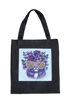 Printed Patch Tote Bags HB0710-NO.50 - Black