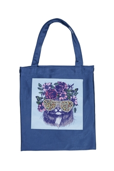 Printed Patch Tote Bags HB0710-NO.50 - Blue