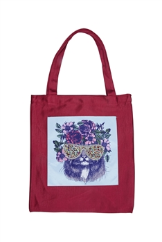 Printed Patch Tote Bags HB0710-NO.50 - Red