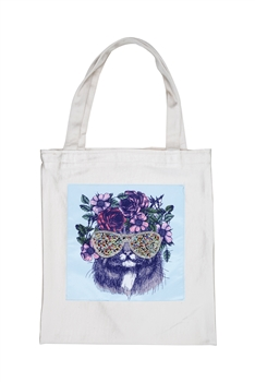 Printed Patch Tote Bags HB0710-NO.50 - White