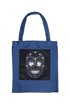 Skull Printed Patch Tote Bags HB0710-NO.97 - Black