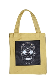 Skull Printed Patch Tote Bags HB0710-NO.97 - Gold