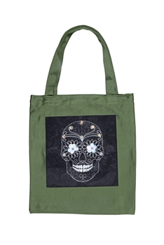 Skull Printed Patch Tote Bags HB0710-NO.97 - Green