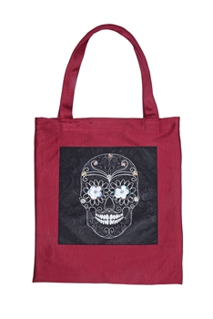Skull Printed Patch Tote Bags HB0710-NO.97 - Red