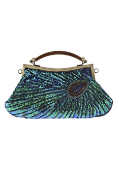 Sequin Peacock Crossbody Bag HB0759 - Green