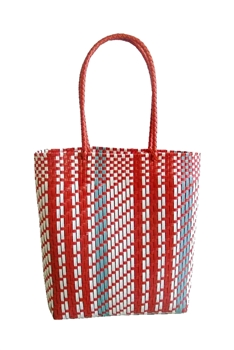 Candy Color Plastic Woven Tote Bag HB0769 - RED