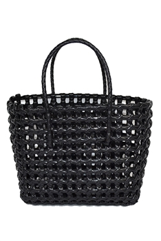 Hollow Plastic Woven Tote Bag HB0772 - Black