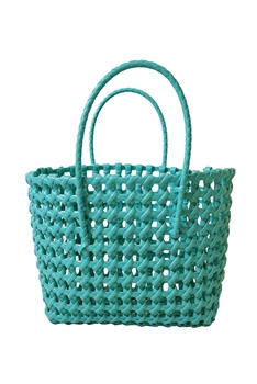 Hollow Plastic Woven Tote Bag HB0772 - Green