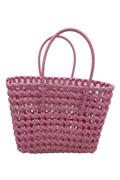 Hollow Plastic Woven Tote Bag HB0772 - Pink