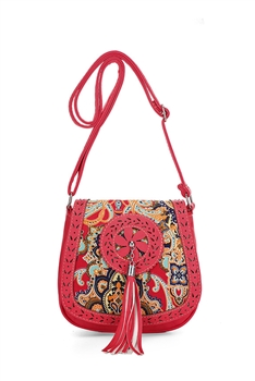 Tassel Saddle Crossbody Bag HB0784 - Red