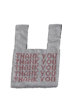 Thank You Rhinestone Tote Bags HB0802 - Silver