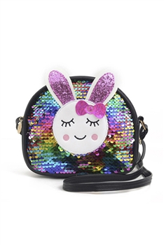 Bunny Sequins Kids Crossbody Bags HB0867 - Black