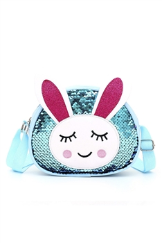 Bunny Sequins Kids Crossbody Bags HB0867 - Blue