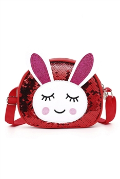 Bunny Sequins Kids Crossbody Bags HB0867 - Red