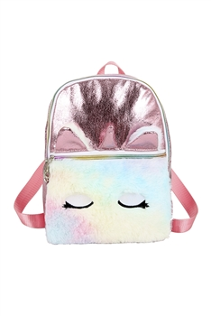 PU Plush Unicorn Backpack Bags HB0874 - Red