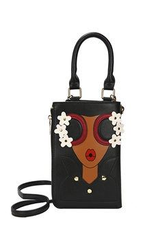 Lady Pattern Crossbody Handbags HB0882 - Black