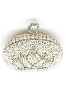 Rhinestone Crown  Pearl Evening Bags HB0947 - Gold