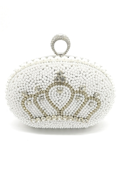 Rhinestone Crown  Pearl Evening Bags HB0947 - White
