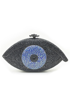Against Evil Eye Rhinestone Handbags HB0959 - Black