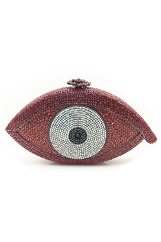 Against Evil Eye Rhinestone Handbags HB0959 - Red