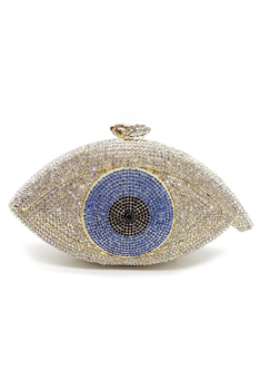 Against Evil Eye Rhinestone Handbags HB0959 - White