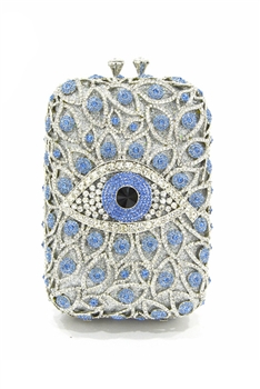 Against  Evil Eye Rectangle Evening Handbags HB0962 - Blue
