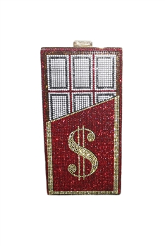 Dollar Chocolate Rhinestone Evening Bags HB0989 - Red