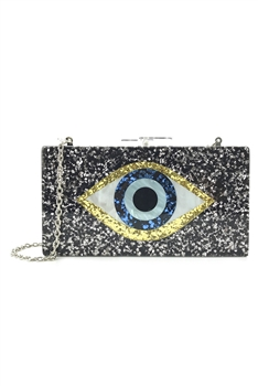 Against Evil Eye Acrylic Evening Bags HB1007 - Black