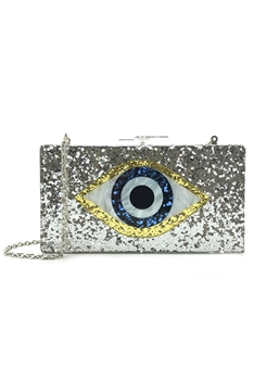 Against Evil Eye Acrylic Evening Bags HB1007 - Silver