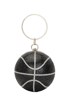 Basketball Rhinestone Evening Bags HB1034-15CM - Black