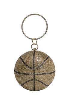 Basketball Rhinestone Evening Bags HB1034-15CM - Gold