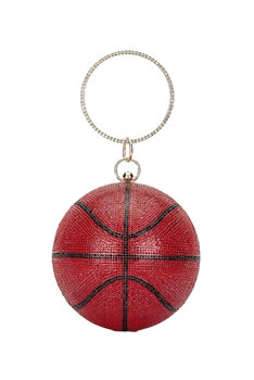 Basketball Rhinestone Evening Bags HB1034-15CM - Red