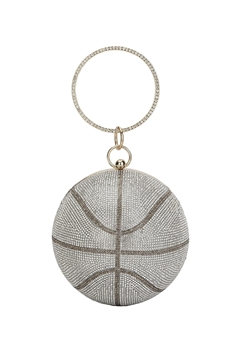 Basketball Rhinestone Evening Bags HB1034-15CM - Silver