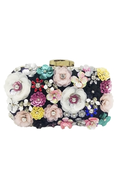 Sequin Flower Evening Bag HB1039 - Black