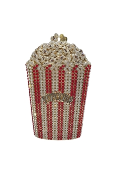 Popcorn Rhinestone Evening Bags HB1060- Red