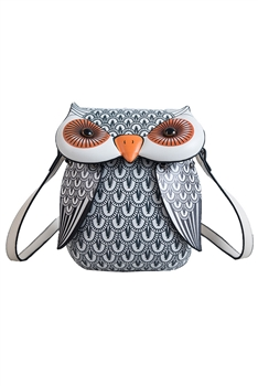 Owl Vegan Leather Crossbody HB1161 - Grey