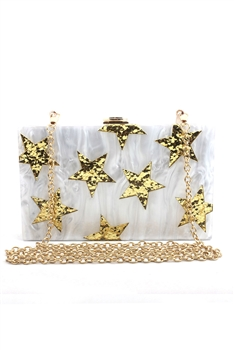 Star Acrylic Crossbody HB1178 - White