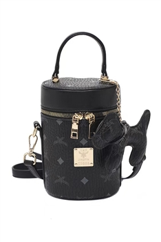 Puppy Cylinder PU Leather Bag HB1206 - Black