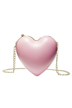 Heart Pu Leather Crossbody HB1217 - Pink