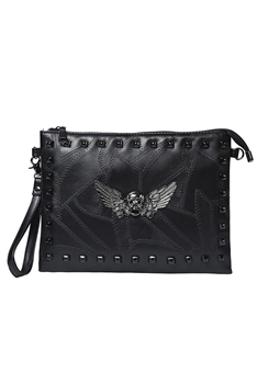 Skull Rivet Pu Leather Clutch HB1279