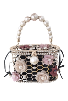 Hollow Basket Pearl Flower Evening Bag HB1293 - Black