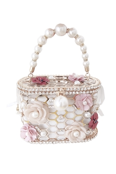 Hollow Basket Pearl Flower Evening Bag HB1293 - White