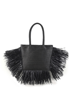 Tassel Pu Leather Tote Bags HB1297 - Black